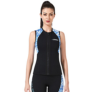 cheap Wetsuits, Diving Suits & Rash Guard Shirts-Dive&Sail Women's Wetsuit Top 3mm CR Neoprene Diving Suit Top Thermal / Warm Anatomic Design High Elasticity Sleeveless Back Zip - Diving Water Sports Patchwork Autumn / Fall Spring Winter