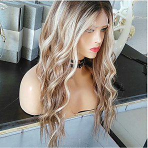 cheap Premium Synthetic Lace Wigs-Synthetic Wig Body Wave Asymmetrical Wig Blonde Long Blonde Synthetic Hair 27 inch Women's Best Quality curling Blonde