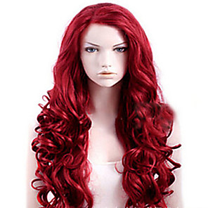 cheap Synthetic Trendy Wigs-Synthetic Wig Wavy Asymmetrical Wig Burgundy Long Burgundy Synthetic Hair 27 inch Women's Best Quality Burgundy