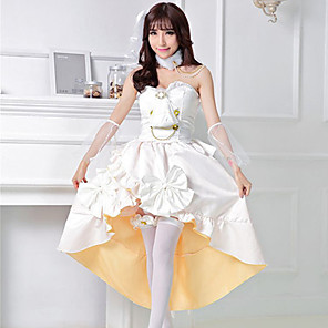 cheap Lolita Dresses-Sweet Lolita Princess Lolita Dress Female Japanese Cosplay Costumes White Solid Color Sleeveless