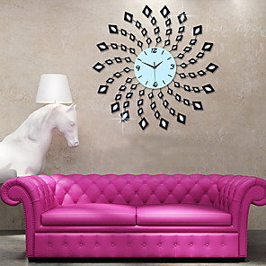cheap Wall Stickers-Large Fashion Wall Clock Modern Design Home Decor Wall Watch Living Room Bedroom Mute Clock Wall Metal Digital Wall Clocks
