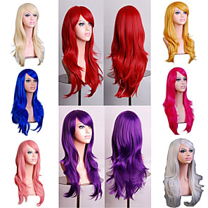 cheap Synthetic Trendy Wigs-Synthetic Wig Body Wave Asymmetrical Wig Long Light Blonde Watermelon Red Brown Pink Green Synthetic Hair 27 inch Women's Best Quality Red Brown