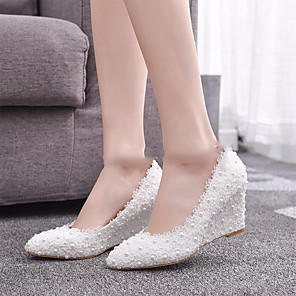 cheap Wedding Shoes-Women's Wedding Shoes Glitter Crystal Sequined Jeweled Wedge Heel Pointed Toe Imitation Pearl / Satin Flower Lace / PU Vintage / Minimalism Spring &  Fall / Spring & Summer White / Party & Evening