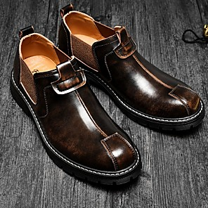 cheap Men's Slip-ons & Loafers-Men's Comfort Shoes PU Fall Loafers & Slip-Ons Black / Brown