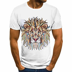 cheap Synthetic Lace Wigs-Men's Plus Size T-shirt Geometric 3D Print Tops Basic Street chic Round Neck White / Short Sleeve