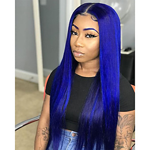 cheap Synthetic Lace Wigs-Synthetic Lace Front Wig Straight Side Part Lace Front Wig Long Blue Synthetic Hair 18-26 inch Women's Soft Adjustable Party Blue