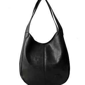 cheap Handbag & Totes-Women's PU Top Handle Bag Solid Color Black / Brown / Red