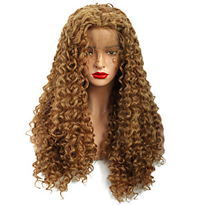 cheap Synthetic Trendy Wigs-Synthetic Lace Front Wig Curly Loose Curl Free Part Glueless Lace Front Lace Front Wig Long Medium Length Strawberry Blonde / Medium Auburn Synthetic Hair 18-24 inch Women's New Design Women Thick