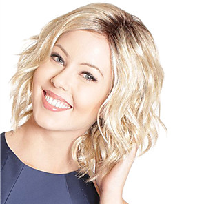 cheap Synthetic Trendy Wigs-Synthetic Wig Curly Asymmetrical Wig Blonde Short Light Blonde Synthetic Hair 10 inch Women's Blonde