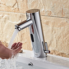 abordables Robinets de Lavabo-Robinet lavabo - Séparé Plaqué Sur Pied Mitigeur un trouBath Taps