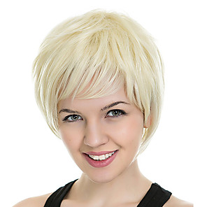 cheap Synthetic Trendy Wigs-Synthetic Wig kinky Straight Loose Curl Asymmetrical Wig Blonde Short Light golden Synthetic Hair 4 inch Women's Best Quality Blonde