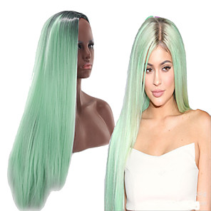 cheap Costume Wigs-Synthetic Wig Straight Asymmetrical Wig Long Ombre Green Synthetic Hair 27 inch Women's Green