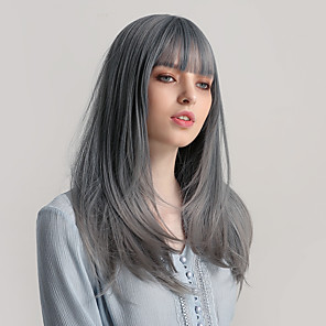 cheap Synthetic Trendy Wigs-Synthetic Wig Bangs Natural Straight Side Part Neat Bang With Bangs Wig Ombre Long Ombre Grey Synthetic Hair 22 inch Women's Cosplay Women Synthetic Dark Gray Ombre HAIR CUBE / Ombre Hair