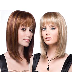 Χαμηλού Κόστους Συνθετικές περούκες χωρίς σκουφί-Συνθετικές Περούκες Ίσιο Κατσαρά Ίσια Ασύμμετρο κούρεμα Περούκα Μακρύ Μεσαίου Μήκους Ombre Blonde Ombre Brown Συνθετικά μαλλιά 16 inch Γυναικεία Η καλύτερη ποιότητα Σκούρο Καφέ Ξανθό