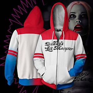 cheap Movie & TV Theme Costumes-Inspired by Cosplay Harley Quinn Cosplay Costume Hoodie Polyster Print Printing Hoodie For Men's / Women's