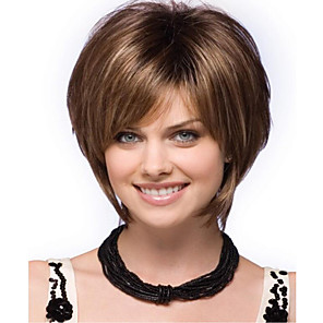 cheap Synthetic Trendy Wigs-Synthetic Wig Curly Asymmetrical Wig Short Light Brown Synthetic Hair 11 inch Women's Light Brown