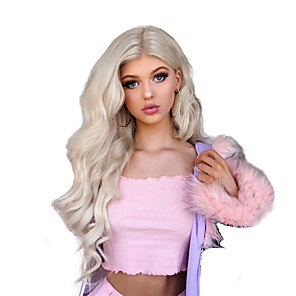 cheap Synthetic Lace Wigs-Synthetic Lace Front Wig Wavy Free Part Lace Front Wig Blonde Long Blonde Synthetic Hair 18-26 inch Women's Cosplay Soft Adjustable Blonde