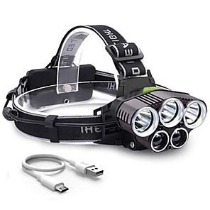 cheap Flashlights-LED Cross-Border Explosion Model 6 Mode USB Charging Outdoor Night Fishing 5LED Strong Light Headlight