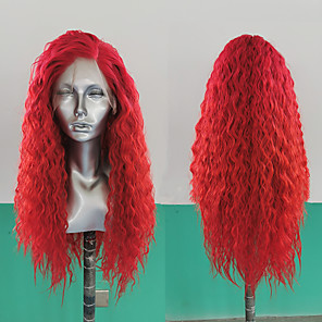 cheap Synthetic Lace Wigs-Synthetic Lace Front Wig Loose Wave Side Part Lace Front Wig Long Red Synthetic Hair 18-26 inch Women's Heat Resistant Synthetic Easy dressing Red / Natural Hairline / Natural Hairline