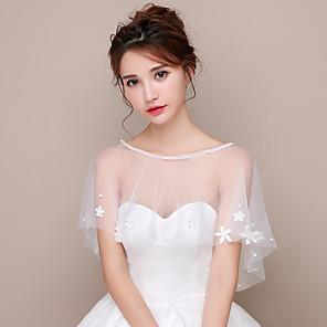 cheap Party Sashes-Short Sleeve Shawls Mesh / Lace / Polyester Wedding Women's Wrap With Faux Pearl / Appliques / Split Joint