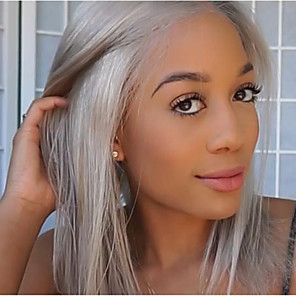 cheap Synthetic Trendy Wigs-Synthetic Wig Straight kinky Straight Asymmetrical Wig Medium Length Grey Synthetic Hair 16 inch Women's Silver Gray