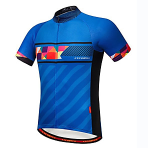 cheap Cycling Jerseys-21Grams Men's Short Sleeve Cycling Jersey Spandex Polyester Blue Spain National Flag Bike Jersey Top Mountain Bike MTB Road Bike Cycling UV Resistant Breathable Quick Dry Sports Clothing Apparel