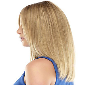 cheap Synthetic Trendy Wigs-Synthetic Wig Curly kinky Straight Asymmetrical Wig Blonde Medium Length Light golden Synthetic Hair 16 inch Women's Best Quality Blonde