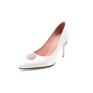 cheap Wedding Shoes-Women's Wedding Shoes Stiletto Heel Pointed Toe Rhinestone Satin Business / Classic Spring & Summer Black / White / Red / Party & Evening