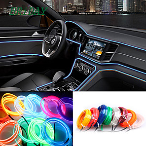 cheap Car Decoration Lights-5M/lot Flexible Car Interior Lighting LED Strip Garland Wire Rope Tube Line Neon Light With Cigarette Drive controller 8 colors 12v