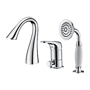 cheap Bathtub Faucets-Bathtub Faucet - Contemporary Chrome Roman Tub Ceramic Valve Bath Shower Mixer Taps / Single Handle Three Holes