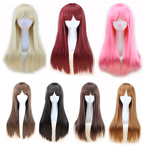cheap Synthetic Trendy Wigs-Synthetic Wig Straight kinky Straight Asymmetrical Wig Blonde Long Light Blonde Light Brown Brown Pink Natural Black Synthetic Hair 27 inch Women's Best Quality Blonde Brown