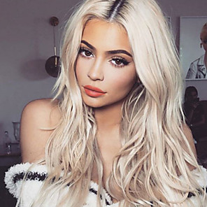 cheap Synthetic Lace Wigs-Synthetic Wig Body Wave Asymmetrical Wig Blonde Long Blonde Synthetic Hair 27 inch Women's Best Quality Middle Part Blonde