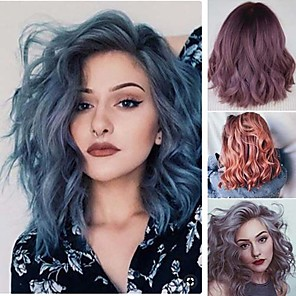 cheap Synthetic Trendy Wigs-Synthetic Wig Curly Asymmetrical Wig Medium Length Grey Ombre Pink Ombre Purple Ombre Blue Synthetic Hair 16 inch Women's Mixed Color