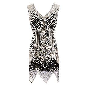 cheap Historical & Vintage Costumes-The Great Gatsby Charleston Dance Costumes Dress Beading Paillette Women's Performance Sleeveless Terylene