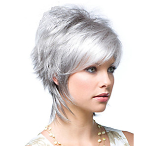 cheap Synthetic Trendy Wigs-Synthetic Wig kinky Straight Asymmetrical Wig Short Sliver White Synthetic Hair 10 inch Women's Fluffy Silver