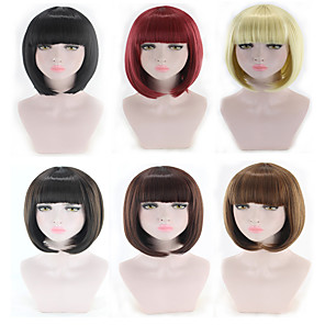 cheap Synthetic Trendy Wigs-Synthetic Wig kinky Straight Bob Neat Bang Wig Short Light Blonde Light Brown Black#1B Brown Natural Black Synthetic Hair 11 inch Women's Best Quality Black Brown