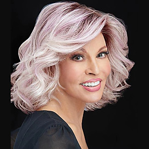 cheap Synthetic Trendy Wigs-Synthetic Wig Curly Asymmetrical Wig Pink Short Ombre Pink Synthetic Hair 11 inch Women's Best Quality Pink