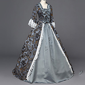 cheap Historical & Vintage Costumes-Maria Antonietta Retro Vintage Rococo Victorian Medieval Dress Masquerade Women's Costume Purple / Blue Vintage Cosplay Party Masquerade Long Sleeve
