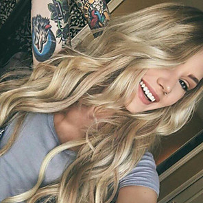 cheap Synthetic Trendy Wigs-Synthetic Wig Curly Body Wave Asymmetrical Wig Blonde Long Ombre Blonde Synthetic Hair 27 inch Women's Best Quality Middle Part Blonde