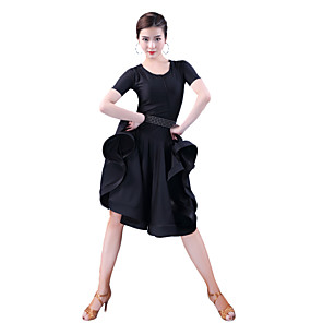 cheap Latin Dancewear-Latin Dance Dress Tassel Wave-like Women's Party Performance Short Sleeve Natural Milk Fiber