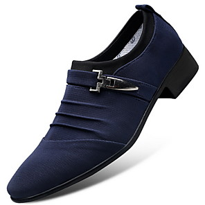 cheap Men's Slip-ons & Loafers-Men's Dress Shoes Fall / Winter Business / Classic Daily Party & Evening Office & Career Oxfords Canvas Wear Proof Blue / Black / Gray / Buckle