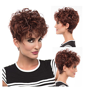 cheap Synthetic Trendy Wigs-Synthetic Wig Curly Asymmetrical Wig Burgundy Short Burgundy Synthetic Hair 6 inch Women's Best Quality Burgundy