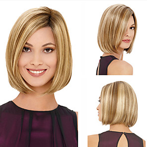 cheap Synthetic Trendy Wigs-Synthetic Wig kinky Straight Bob Wig Blonde Short Blonde Synthetic Hair 11 inch Women's Blonde