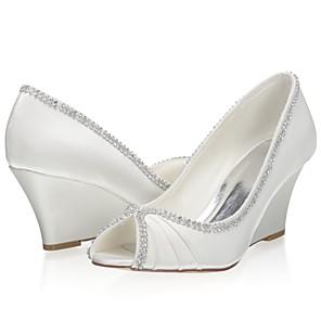 cheap Wedding Shoes-Women's Wedding Shoes Wedge Heel Peep Toe Satin Sweet Spring & Summer / Fall & Winter Ivory