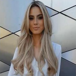 cheap Synthetic Trendy Wigs-Synthetic Wig Body Wave Asymmetrical Wig Blonde Long Blonde Synthetic Hair 27 inch Women's Color Gradient Best Quality Middle Part Blonde