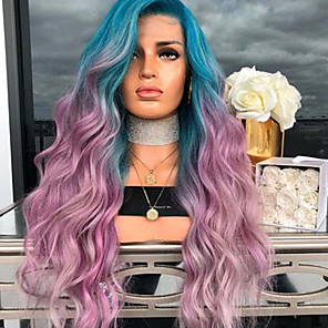 cheap Synthetic Trendy Wigs-Synthetic Wig Body Wave Asymmetrical Wig Long Purple / Blue Synthetic Hair 27 inch Women's Color Gradient Purple