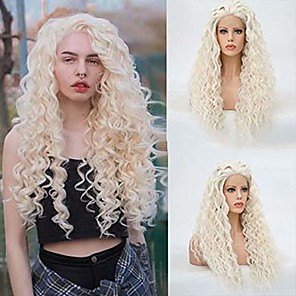 cheap Synthetic Lace Wigs-Synthetic Lace Front Wig Spiral Curl Free Part Lace Front Wig Blonde Long Platinum Blonde Synthetic Hair 18-26 inch Women's Heat Resistant Classic Synthetic Blonde / Natural Hairline