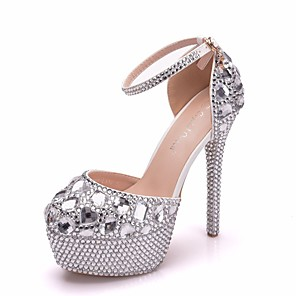 cheap Wedding Shoes-Women's Wedding Shoes Crystal Sandals Stiletto Heel Round Toe Rhinestone / Crystal / Sparkling Glitter PU Vintage / Minimalism Spring &  Fall / Spring & Summer Silver / Rainbow / Party & Evening