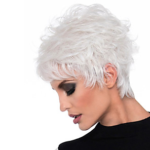 cheap Synthetic Trendy Wigs-Synthetic Wig Curly Asymmetrical Wig Short Brown White Synthetic Hair 11 inch Women's White Brown