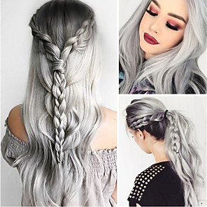 cheap Synthetic Lace Wigs-Synthetic Wig Body Wave Asymmetrical Wig Long Grey Synthetic Hair 27 inch Women's Gray